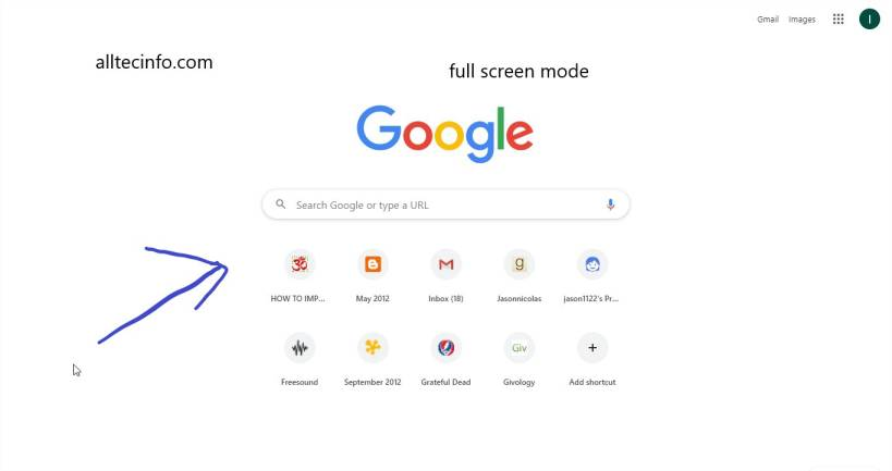 enable and disable full screen mode on google